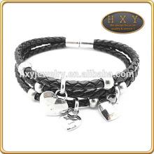Ladies Stunning Black Leather bracelet wrist band festival