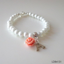 bracelet pearl pink resin rose and initial A pendants white imitation pearl bracelet