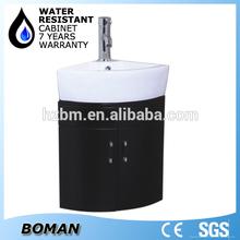 ceramic basin white pvc mirrored corner bathroom cabinet