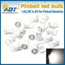 2014 new AC DC 6.3V pinball led bulb, T10 194 W5W #555 led bulb for pinball