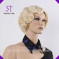 design de moda excelente qualidade de oem a cor loira estilo bob curta encaracolados peruca das mulheres