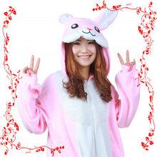Wholesale factory price adult polar fleece onesies Pink winter rabbit pajama Party costume rabbit
