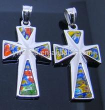 Stock Custom venta al por mayor de Metal de acero inoxidable cruz colgante de murano de la joyería de piedra