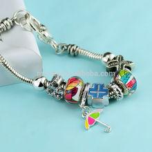 Silver core big hole charm glass beads bracelet , safety chain snake european silver bead bracelet