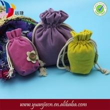 China printed coloured drawstring promotional velvet bag