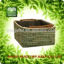 Venta al por mayor aspecto atractivo de la cesta de paja con mango de cuero para el almacenamiento