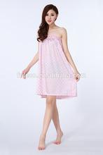 nuevo y elegante de la red a corto verano túnica damas pijama de seda
