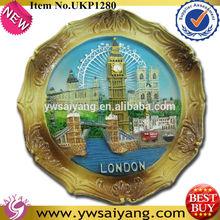 New 2014 Polyresin tourist customize London Round souvenir fridge magnet In Gold Promotion Gift