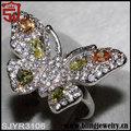 estilo de la mujer de oro llena de colores cz mariposa vintage anillos