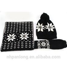 knitting print snow scarf, hat & glove sets