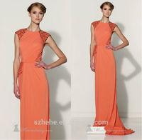 JM.Bridals CW3462 Special occasions beautiful orange color beaded cap sleeve modest elegant chiffon evening dresses long