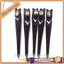 promotional thick ballpoint pen,decorative ballpoint pens,black bear shaped wood craved pen