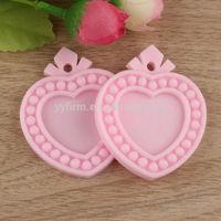 Pink 100pcs 42x51mm Resin Cameo Setting Fit 25mm Heart Resin Blank Pendant Settings