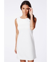 Formal Sleeveless Straight Dress For Office In White