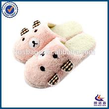 Winter coral fleece cute cartoon bear slippers ladies