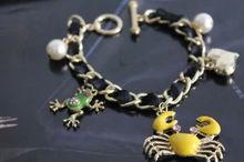 enameled metal animal charm bracelet pearl beaded bracelet link chain bracelet