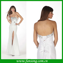 2014 sheath strapless sequined lace up Fashion slit Formal Prom Dress