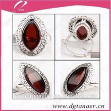 925 Silver beautiful fashion wine red amber ring