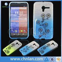 Fancy TPU Soft Gradient Color Flower Designer Flexible TPU Cover Skin for Moto X Phone XT1056 XT1058 Cell Phone Cases