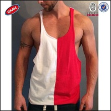class American style Y back two tone 100% cotton mens gym vest