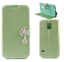 silk Diamond bling Flower Pendant Wallet Leather case cover for Samsung Galaxy S5 sv i9600 i9500x g900