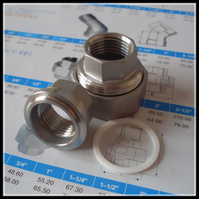 """Stainless Steel Fitting /PTFE Seat Union Threaded 1/2"""" 304"""