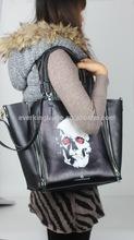 Crossbones design fashion cow skin handbag