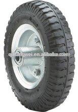 flat free tire 4.00-8 wheel barrow wheel 6x2 solid rubber wheels