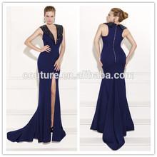 Latest Gown Designs V Neck Bodice Side Split Custom Made 2015 Tarik Ediz 92509 Prom Dress Floor Length Cap Sleeves