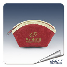 Red zipper velvet jewelry pouch velvet gift bag with logo made in China