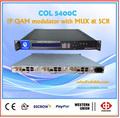Televisión por cable digital 8 canal ip qam modulador de rf con el multiplexor y scrambler, modulador de dvb-c, catv modulador col5400c