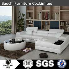 big white leather corner sofa.single seat sofa bed.modern l shape sofa.C1373B