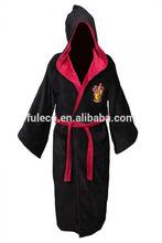 Claasic Harry Potter Style Winter Thermal Flannel Long Sleeve Hooded Bathrobe Sleepwear