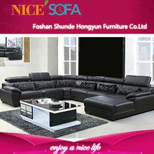 2014 latest design of living room furniture, u shaped leather sofa Q811L