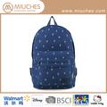 coreano azul encerado mochila de lona