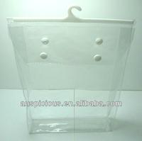 Clear plastic hanging hook bag pvc hanger bag ziplock bag with hanger