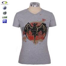 100%cotton heather grey printing woman t shirt V neck