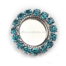 L0714011 Hot sale silver plated cameo round tray fit 10mm cabochon, aquarium blue rhinestone alloy base setting pendant