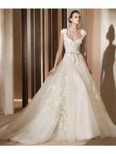 Romantico abito palla V- collo in pizzo di tulle applique abiti da sposa elie saab prezzi