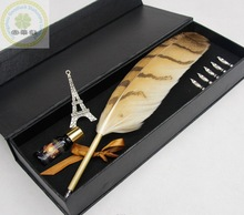 High Quality Christmas Ballpoint Feather Quill Pen/2014 Best-selling Quill Feather Fountain Pen Set