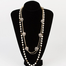 chain and pearl strand necklace, gold long chain pearl necklace