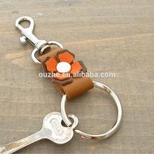 Orange Leather Flower Key Fob