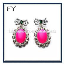 Big ruby pendant Earrings with full crystal,bowknot earrings