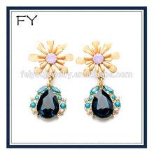 Charming Emerald tear drop earrings,enamel daisy earring studs