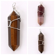 3 Double Terminated Wire Wrapped Pendant One Each of Yellow Tiger Eye, Quartz and Mookaite Pendants