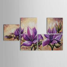 Hand Painted Oil Painting Beautiful Purple Flowers 4 Panel Wall Art