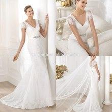 Elegant V Neck Trumpet Short Sleeve Lace and Tulle Appliqued Wedding Dress 2014