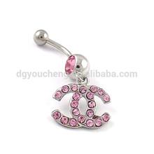 Gem Paved Body Jewelry Navel Piercing Channel