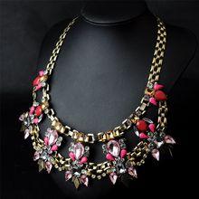 الأوروبية والأمريكية n00351 كبيرة الكريستال والمجوهرات بالجملة المال الإناث قصيرة مزينة مجوهرات قلادة زينة