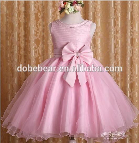2014 de alta qualidade novo Design de moda laço da menina comunhão vestido